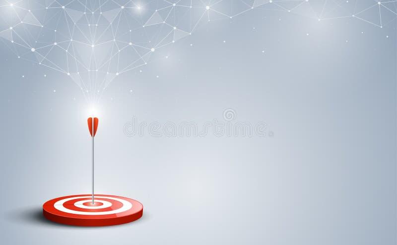 Ziel mit Pfeil Ziele schlugen in der Mitte durch einen Pfeil mit abstraktem Hintergrund stock abbildung
