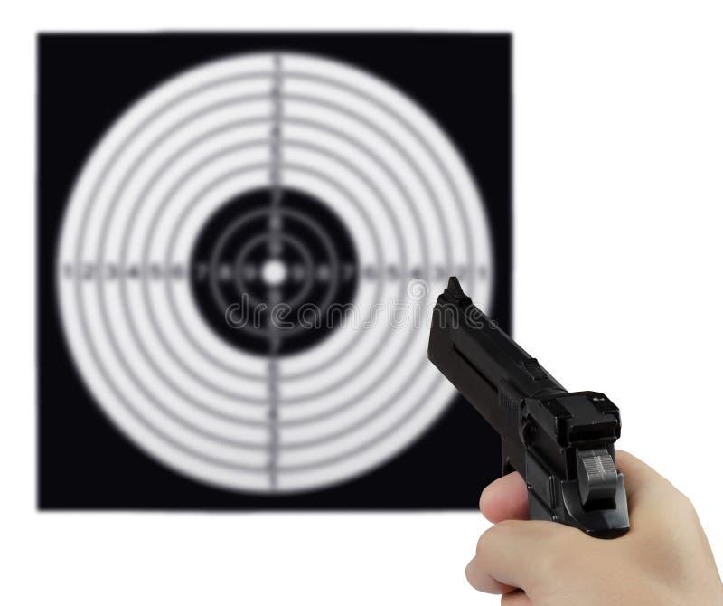 Ziel und Gewehr stockbild