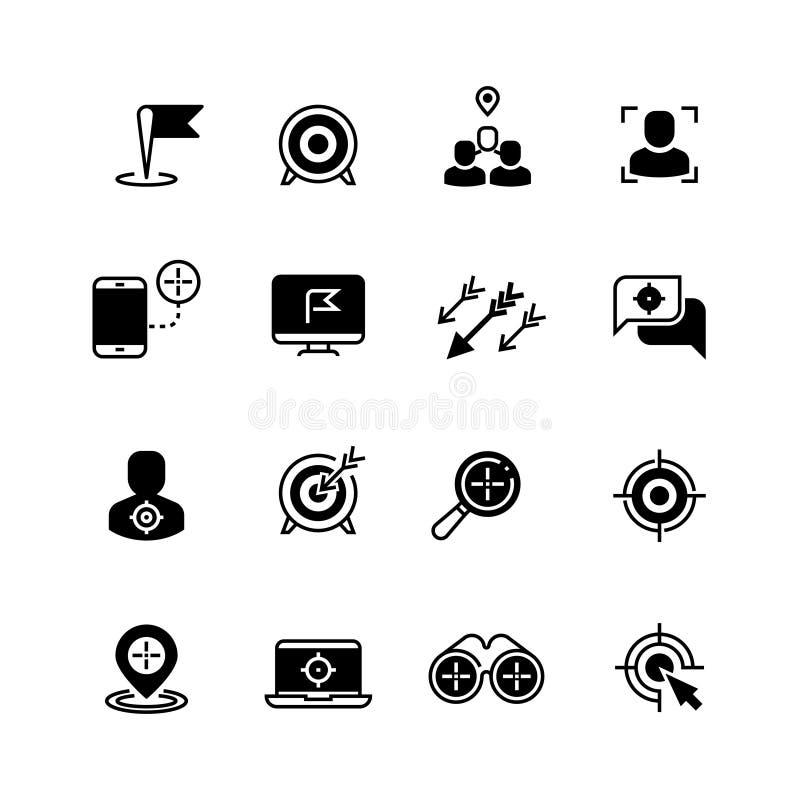 Ziel- und Zielikonen Anvisieren von Strategie- und Unternehmenszielvektorsymbolen lizenzfreie abbildung