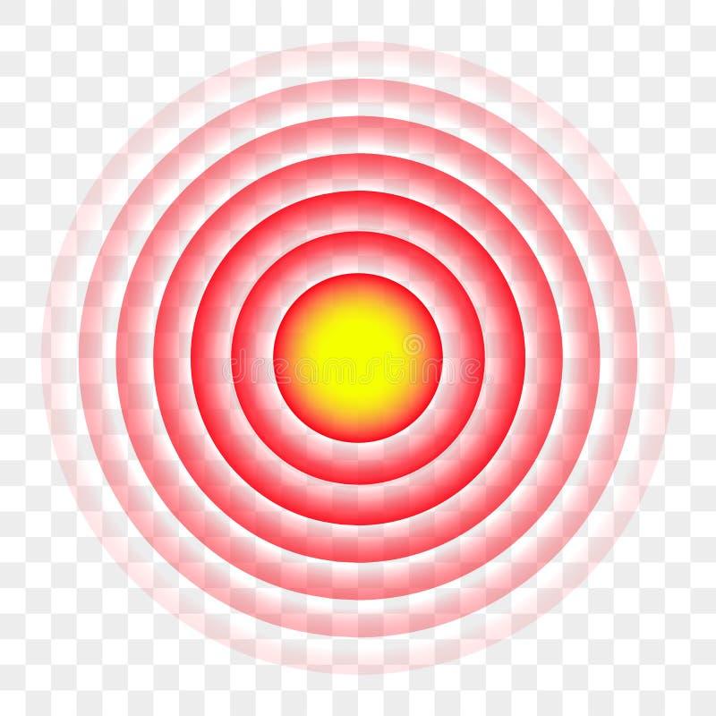 ZIEL-Vektorikone des roten Kreises der Schmerz Radial lizenzfreie abbildung
