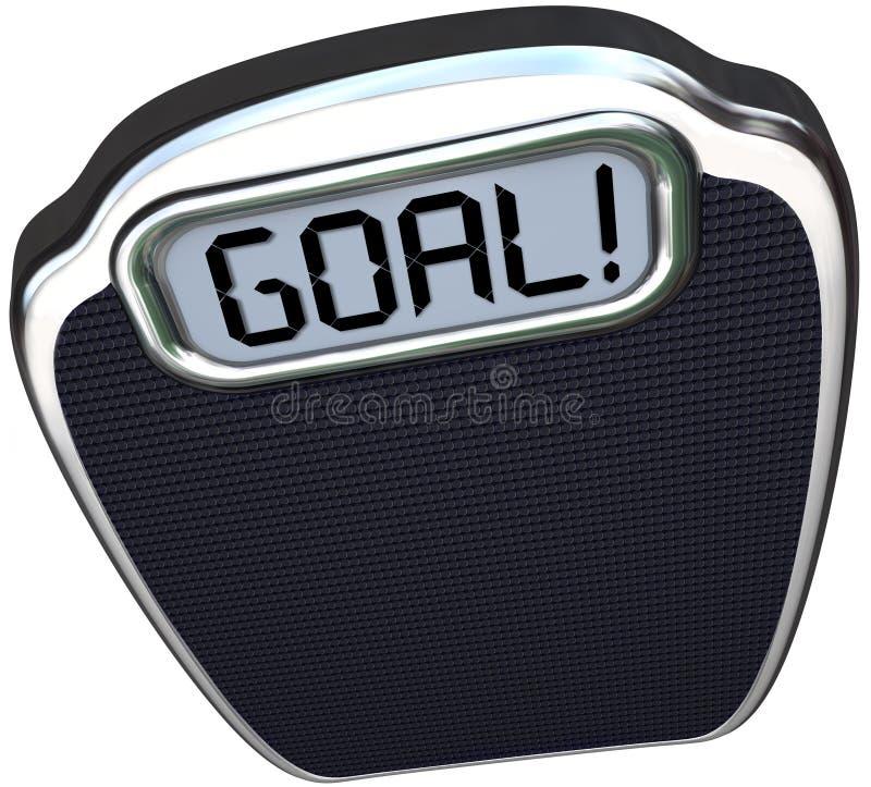 Ziel-Wort-Skala-Gewichts-Verlust-Ziel-Leichtgewichtler lizenzfreie abbildung