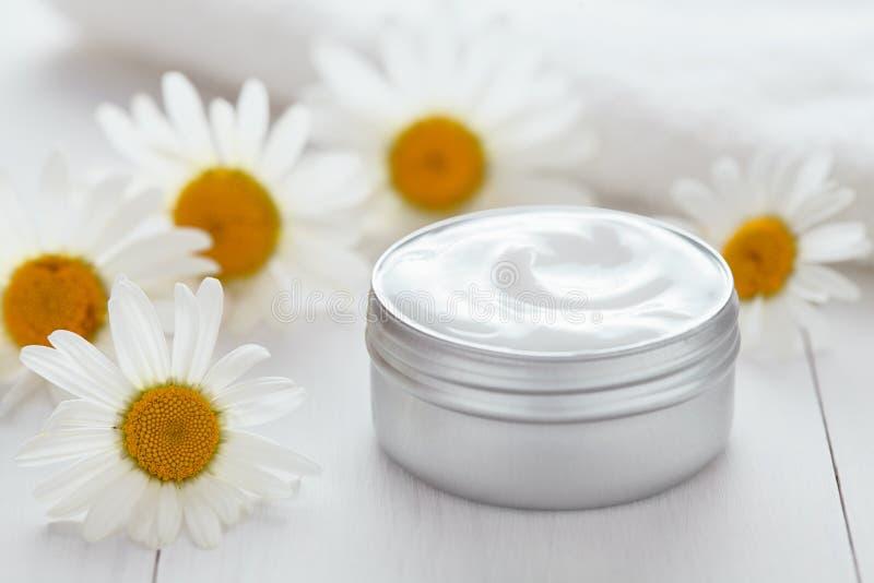 Zielarskiego kosmetycznego antego zmarszczenia chamomile witaminy kremowego zdroju organicznie moisturizer obrazy stock