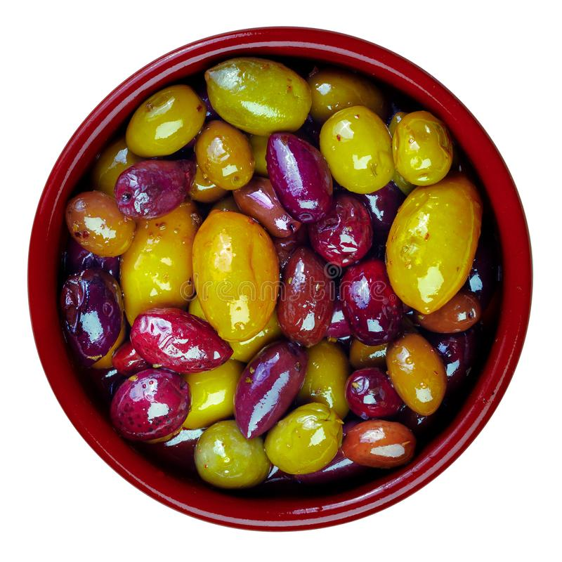 Zieleń i purpury, mieszane oliwki zdjęcie stock