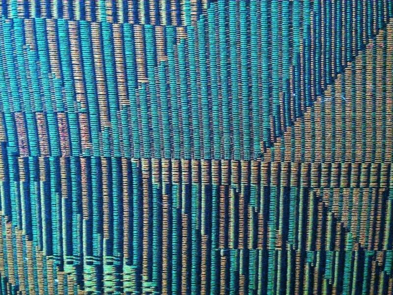 Zieleń, beż i błękitny wyplatający sukienny dywanik, obrazy stock