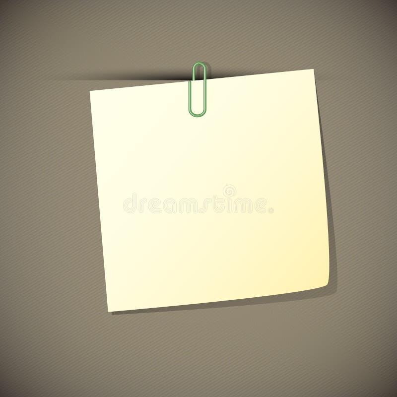 Zieleń czyta nutowego papier z paperclip, ilustracja wektor