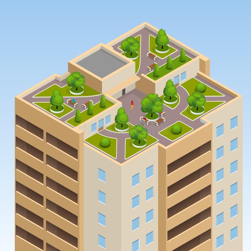 Zieleń dachy, dachowy ogród, eco dach Płaska 3d wektorowa isometric ilustracja eco dach ilustracji