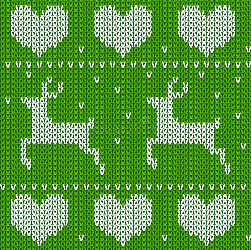 Zieleń Dziający deers pulower w norwegu stylu Trykotowy Skandynawski ornament Wektorowy bezszwowy Bożenarodzeniowy puloweru wzór royalty ilustracja