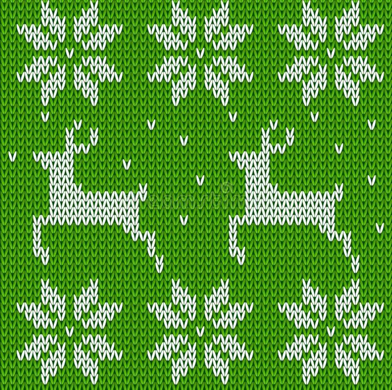 Zieleń Dziający deers pulower w norwegu stylu Trykotowy Skandynawski ornament Wektorowy bezszwowy Bożenarodzeniowy puloweru wzór ilustracji