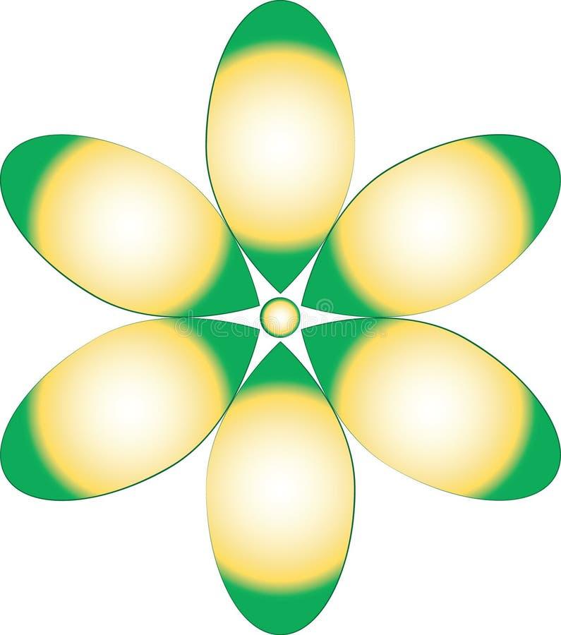 Zieleń I Żółty kwiatu projekt ilustracja wektor
