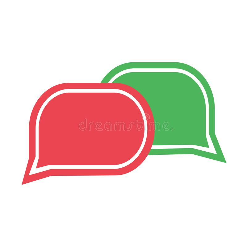 Zieleń i czerwona gadki ikona Ustalone dialog chmury wektor ilustracji