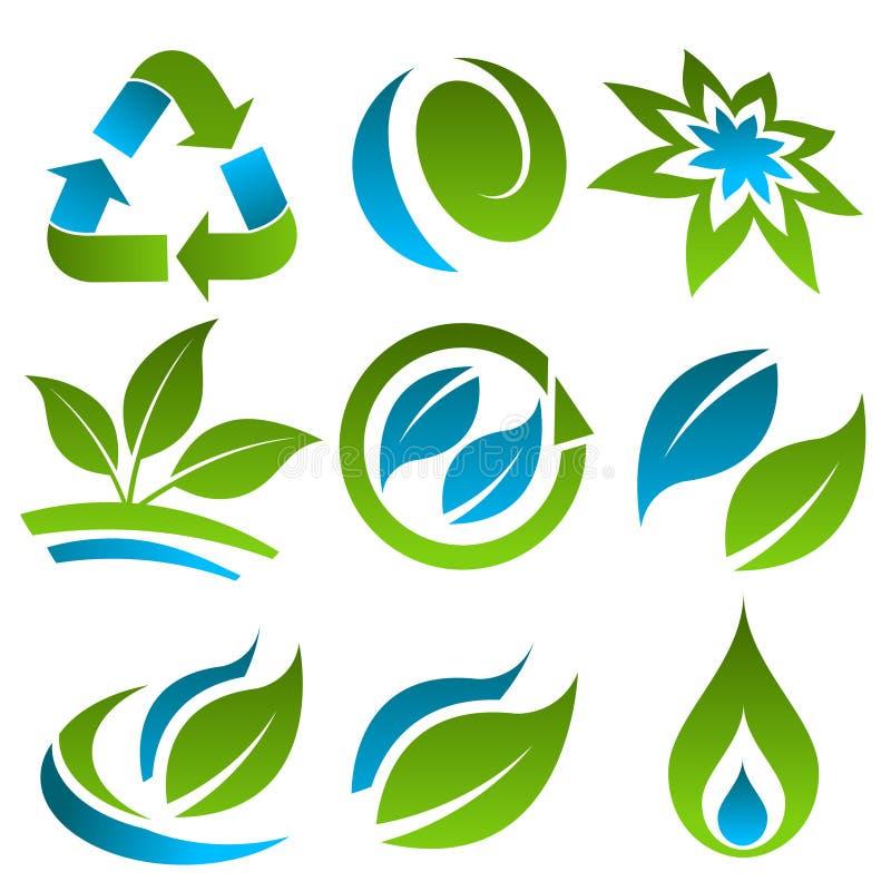 Zieleń i Eco Błękitny TARGET386_0_ Ikony royalty ilustracja