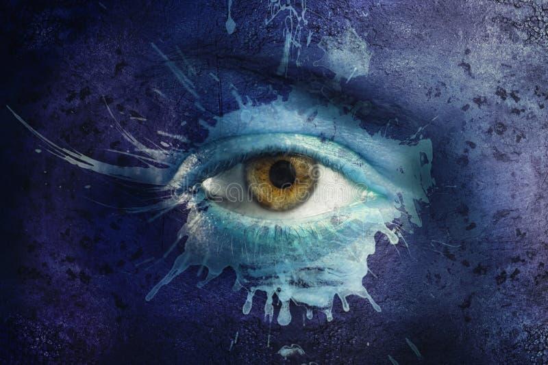 Zieleń i niebieskie oko zdjęcie stock