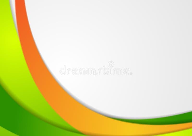 Zieleń i pomarańczowy korporacyjny falisty tło ilustracja wektor