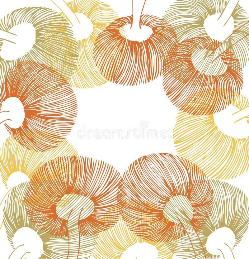 Zieleń, kolor żółty i pomarańczowi kwiatów elementy, ilustracji