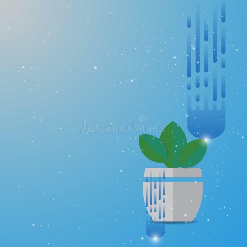 Zieleń liści rośliny garnka abstrakta tło royalty ilustracja