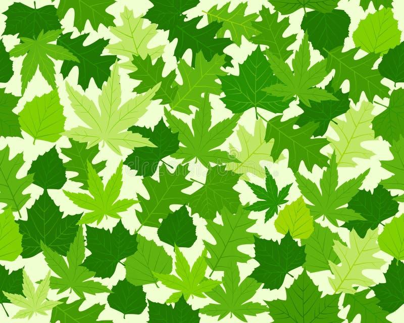 zieleń liście deseniują bezszwową wiosny teksturę ilustracja wektor
