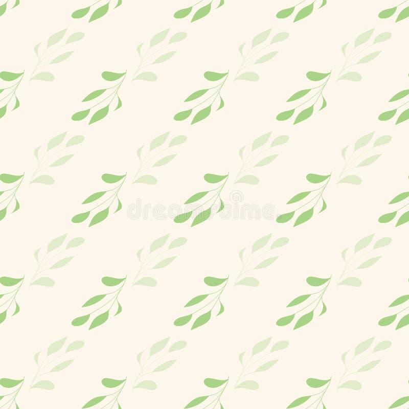 Zieleń liście na creme tła bezszwowej powtórce royalty ilustracja
