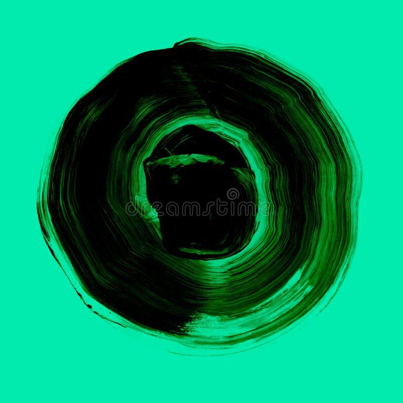 Zieleń textured akrylowy okrąg Watercolour plama na błękit mennicy tle ilustracja wektor