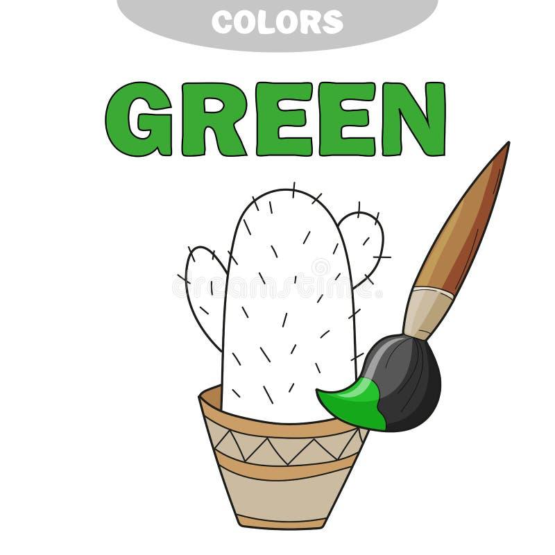 Zieleń Uczy się kolor Ilustracja początkowi kolory Wektorowy kaktus ilustracji
