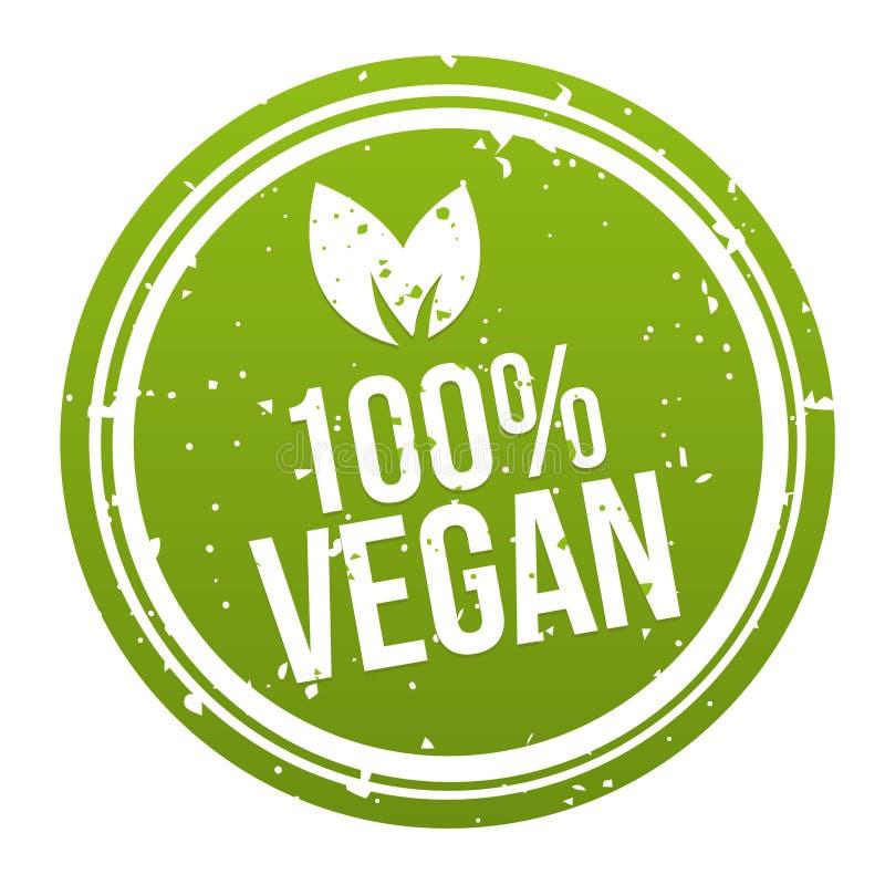 Zieleń weganinu odznaki 100% guzik Eps10 Wektor royalty ilustracja
