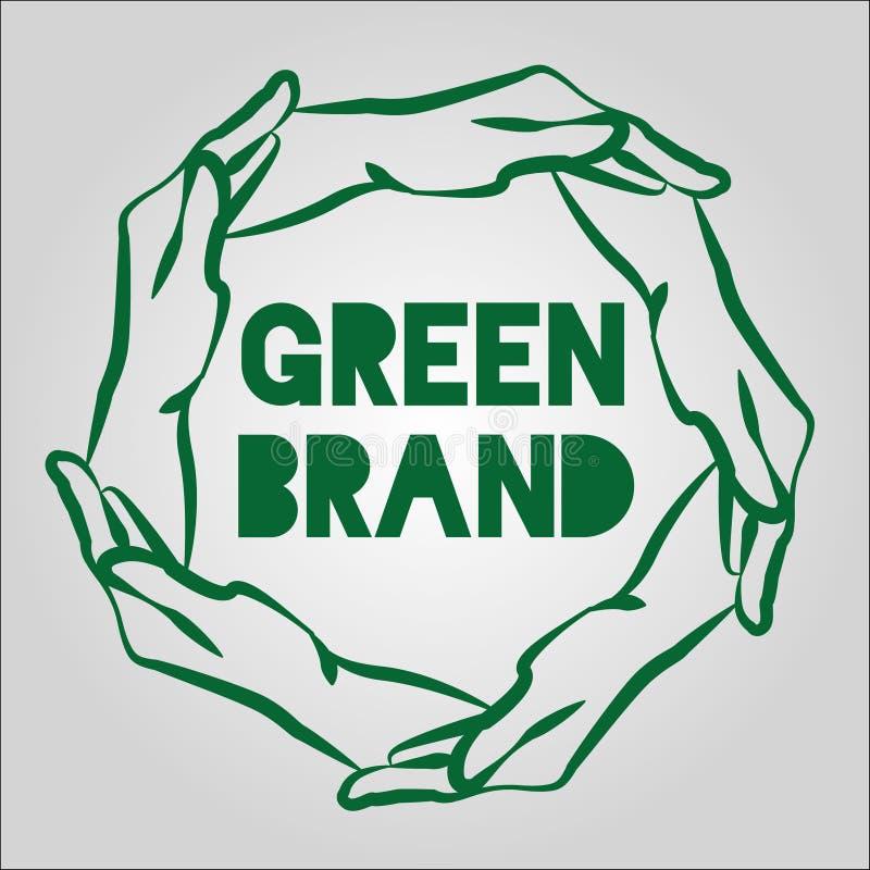 Zieleń Wręcza Eco loga projekt zdjęcie royalty free