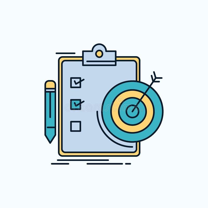Ziele, Bericht, Analytics, Ziel, Leistung flache Ikone r stock abbildung