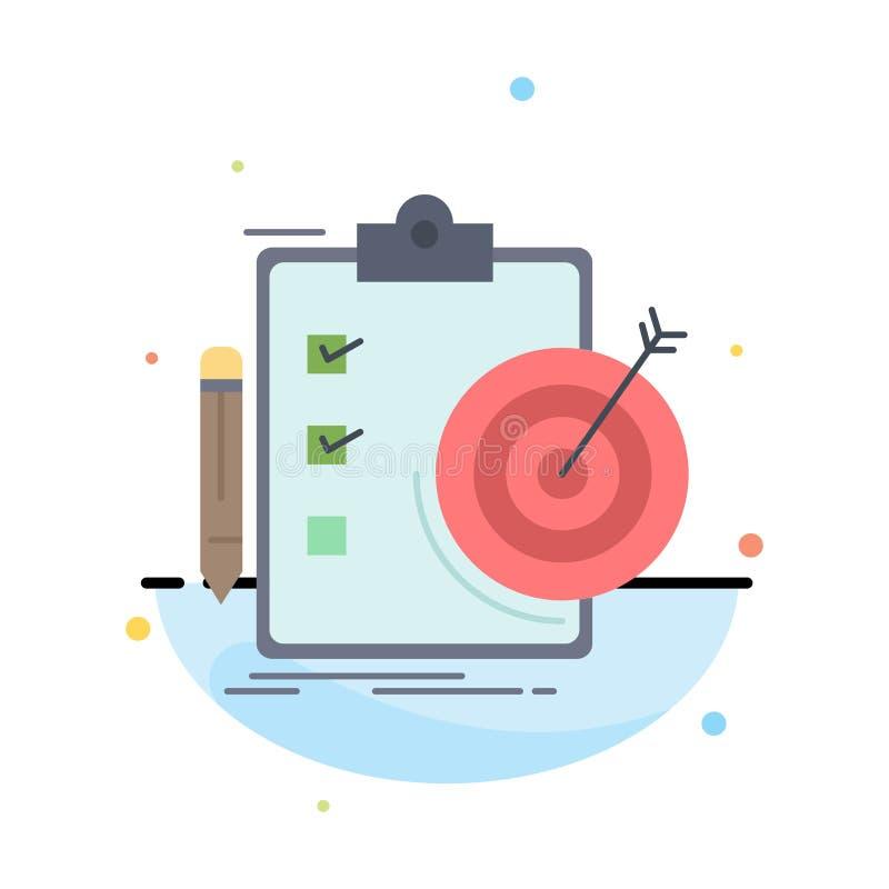 Ziele, Bericht, Analytics, Ziel, Leistung flacher Farbikonen-Vektor lizenzfreie abbildung