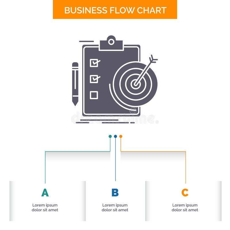 Ziele, Bericht, Analytics, Ziel, Leistung Gesch?fts-Flussdiagramm-Entwurf mit 3 Schritten Glyph-Ikone f?r Darstellungs-Hintergrun lizenzfreie abbildung
