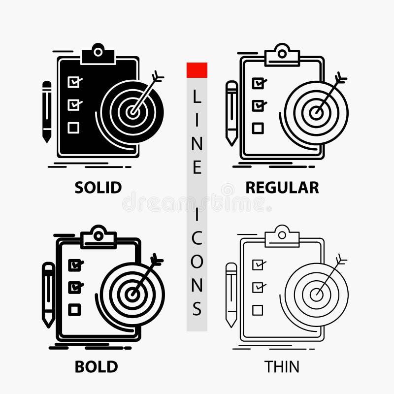 Ziele, Bericht, Analytics, Ziel, Leistung Ikone in der dünnen, regelmäßigen, mutigen Linie und in der Glyph-Art Auch im corel abg lizenzfreie abbildung