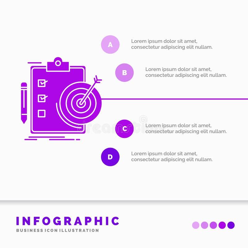 Ziele, Bericht, Analytics, Ziel, Leistung Infographics-Schablone f?r Website und Darstellung Purpurrote Ikone des GLyph infograph stock abbildung