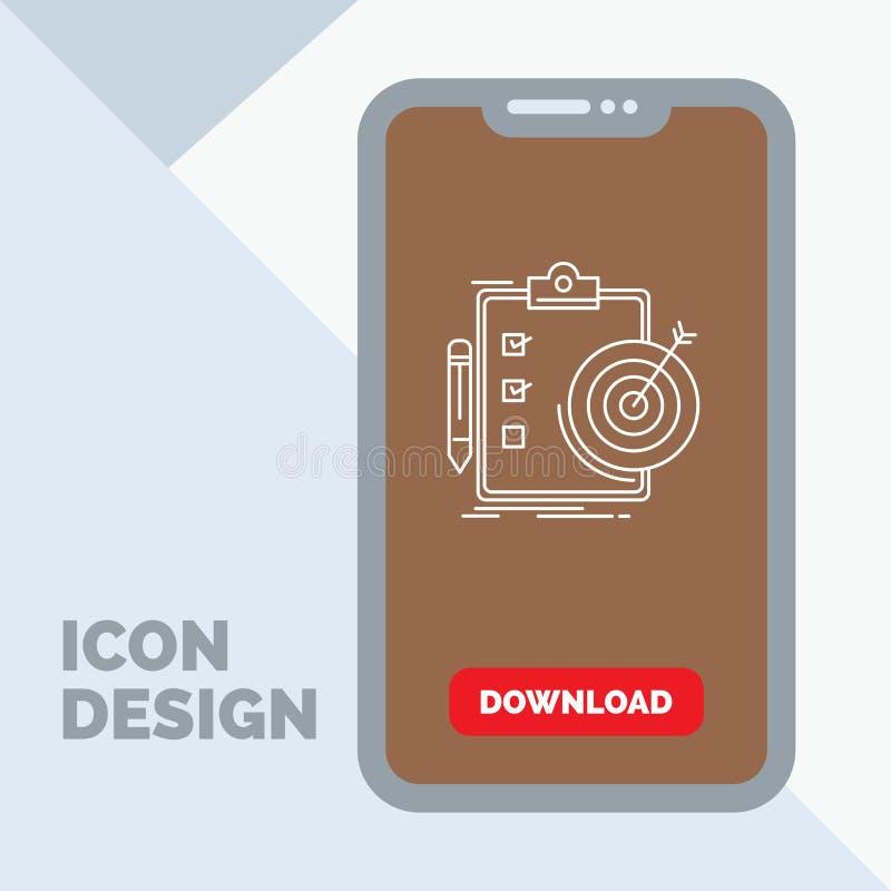 Ziele, Bericht, Analytics, Ziel, Leistung Linie Ikone im Mobile für Download-Seite lizenzfreie abbildung