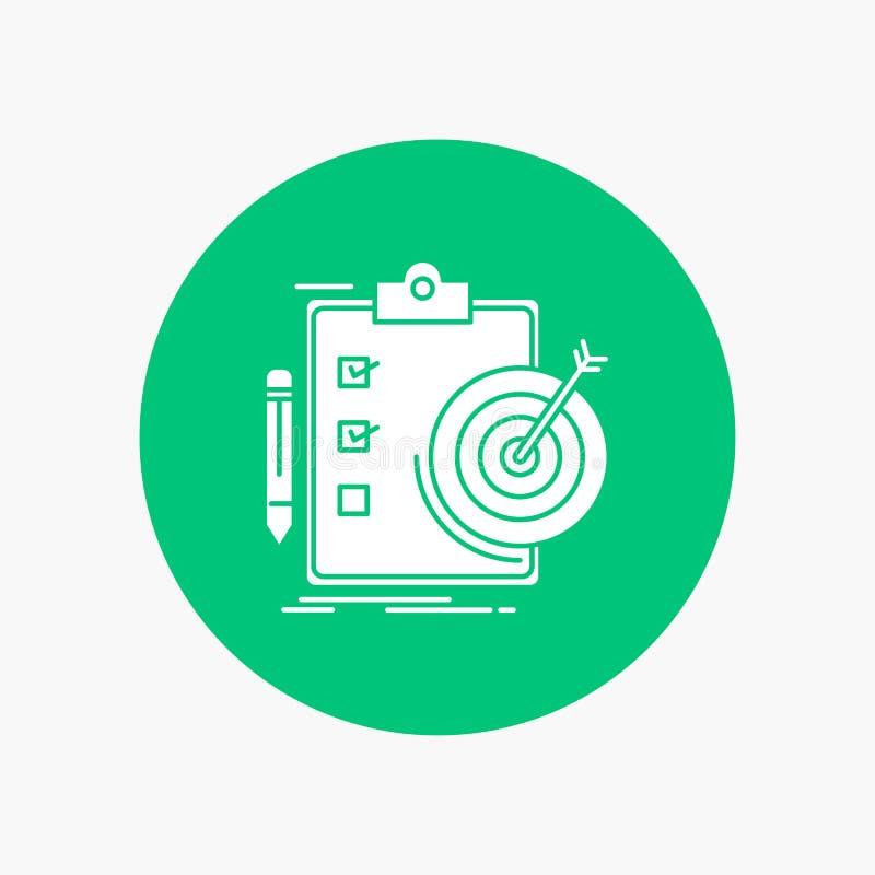 Ziele, Bericht, Analytics, Ziel, Leistung weiße Glyph-Ikone im Kreis Vektor-Knopfillustration stock abbildung