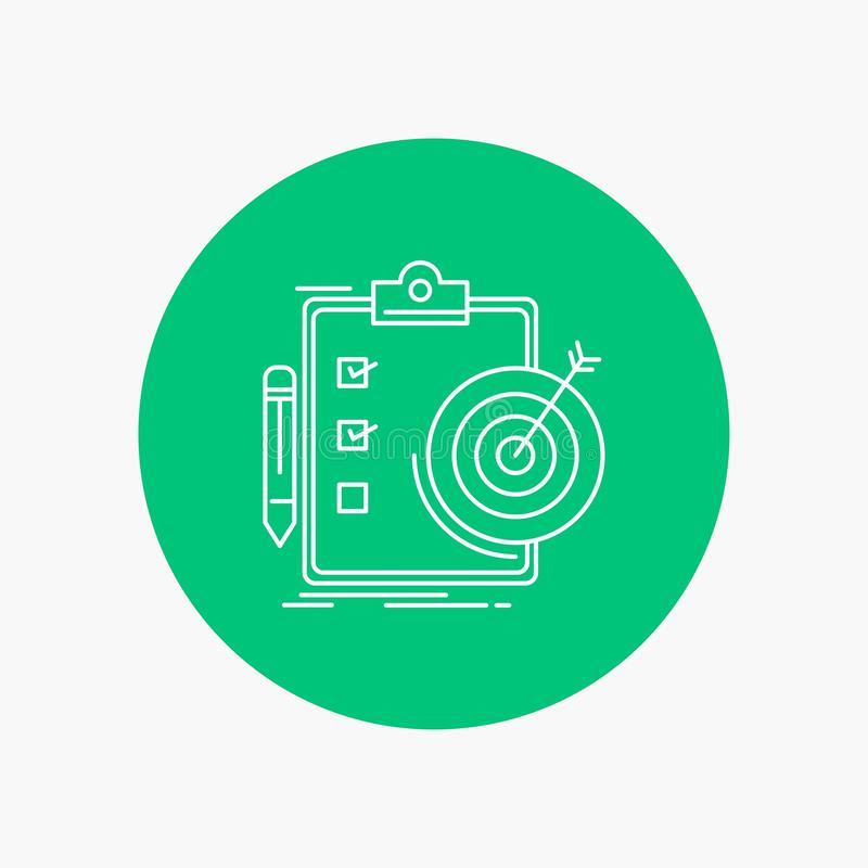 Ziele, Bericht, Analytics, Ziel, Leistung weiße Linie Ikone im Kreishintergrund Vektorikonenillustration lizenzfreie abbildung