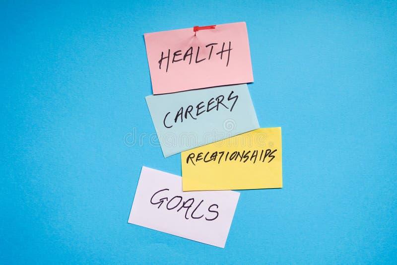 Ziele in den Karrieren, in der Gesundheit und in den Verhältnissen lizenzfreies stockfoto