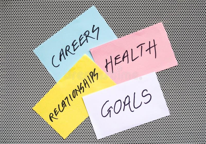 Ziele in den Karrieren, in der Gesundheit und in den Verhältnissen lizenzfreie stockfotografie