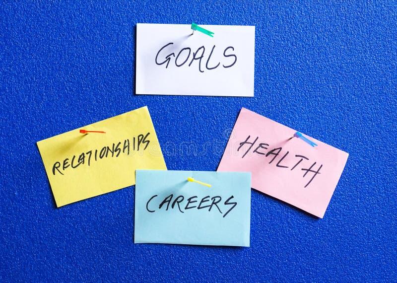 Ziele in den Karrieren, in der Gesundheit und in den Verhältnissen stockfotografie