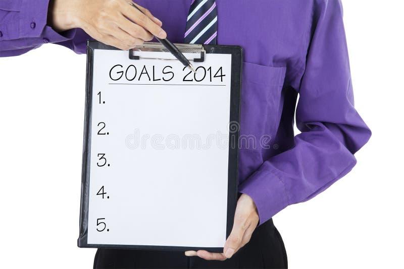 Ziele für 2014 stockfotos