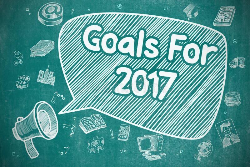 Ziele für 2017 - Karikatur-Illustration auf blauer Tafel stock abbildung