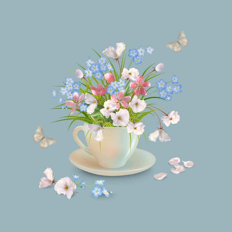 Ziele i kwiaty w filiżance royalty ilustracja