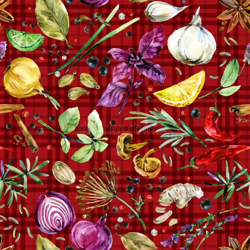 Ziele i pikantność bezszwowy wzór Akwareli botaniczna ilustracja royalty ilustracja