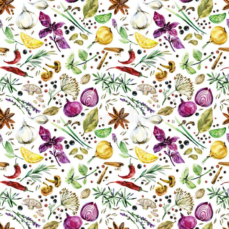 Ziele i pikantność bezszwowy wzór Akwareli botaniczna ilustracja ilustracja wektor