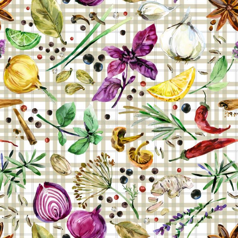 Ziele i pikantność bezszwowy wzór Akwareli botaniczna ilustracja ilustracji