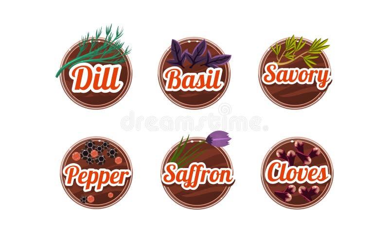 Ziele i pikantność kuchenne odznaki ustawiać, koper, basil, cząber, pieprz, szafran, cloves przylepiają etykietkę wektorową ilust ilustracji