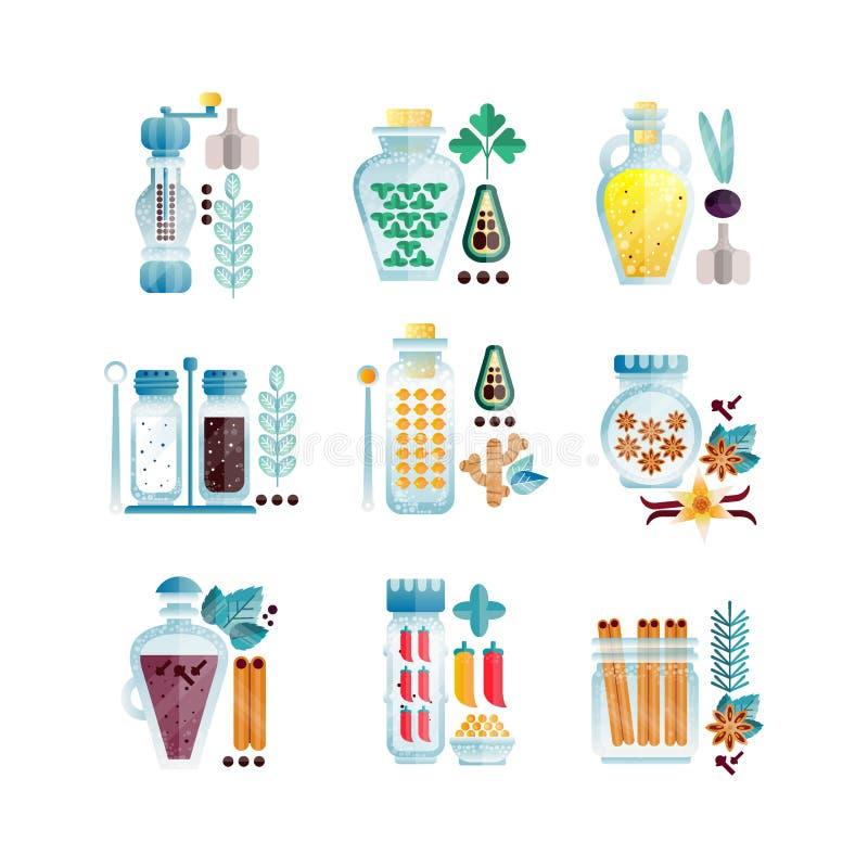 Ziele i pikantność zgrzytają set, różnych kulinarnych condiments wektorowe ilustracje ja royalty ilustracja