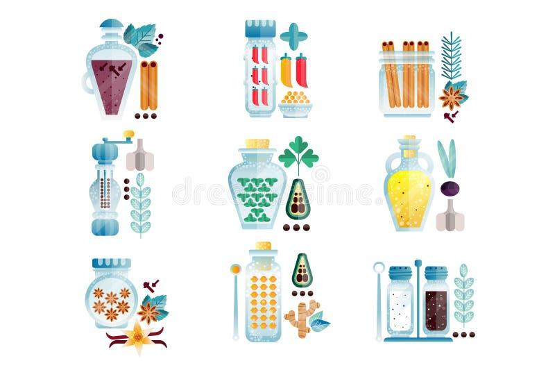 Ziele i pikantność zgrzytają set, różnych kulinarnych condiments wektorowe ilustracje ja ilustracji