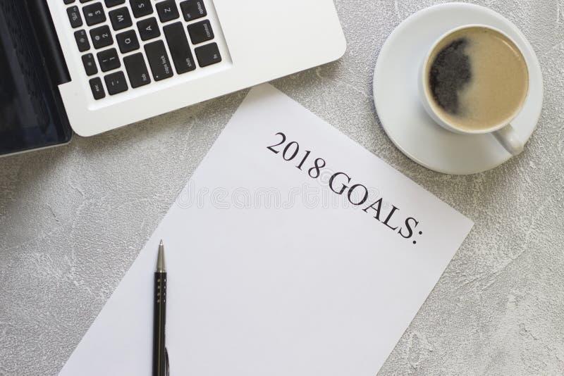 2018 Ziele tapezieren, Büroartikel stockfotografie