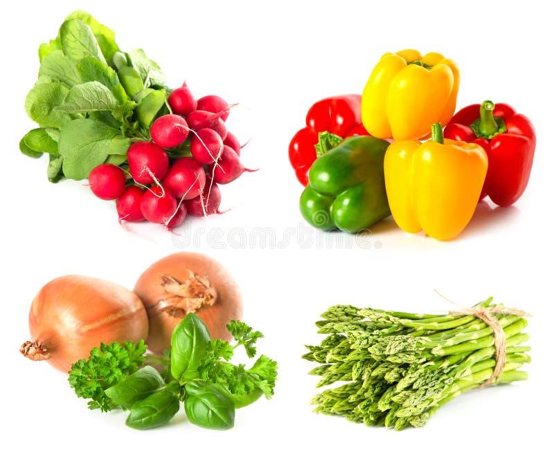 ziele ustawiają warzywa biały zdjęcia stock