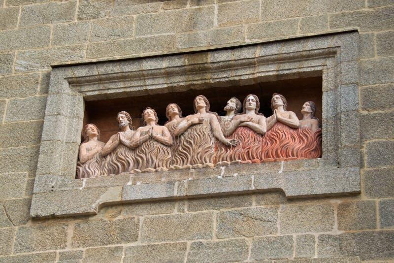 Zielen in Vagevuur bij Kerk van Animas in Santiago de Compostela, Spanje stock foto's