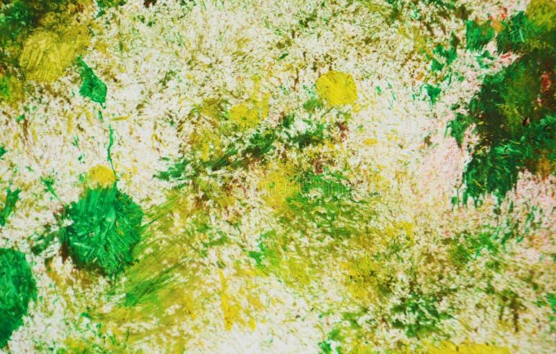 Zieleni żółci ciemnych punktów kolory, zamazany obraz akwareli tło, abstrakcjonistyczny obraz akwareli tło royalty ilustracja