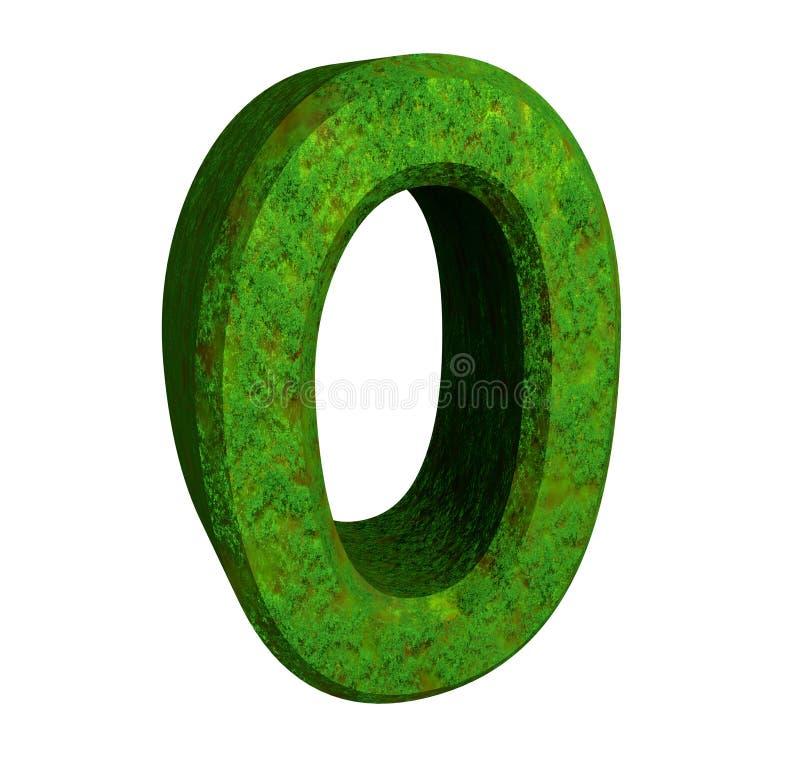 zieleni (0) liczb 3d ilustracji
